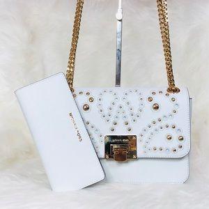 Michael Kors Tina Studded Shoulder Flap Bag Wallet